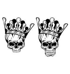 Skulls with crowns vector