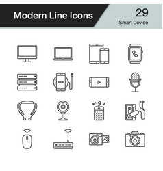 smart device icons modern line design set 29 vector image