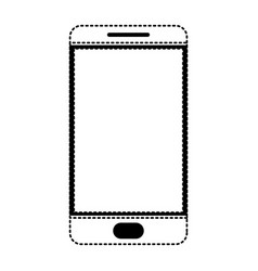 smartphone icon in black dotted silhouette on vector image