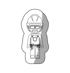 Sticker contour avatar worker with toolkit and vector