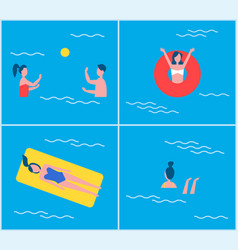 swimming pool and people set vector image