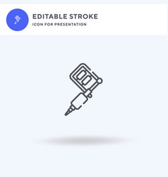 tattoo machine icon filled flat sign vector image
