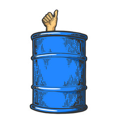 thumb up in barrel color sketch vector image