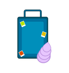 travel suitcase with a seashell vector image