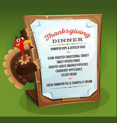 Turkey holding thanksgiving dinner menu vector