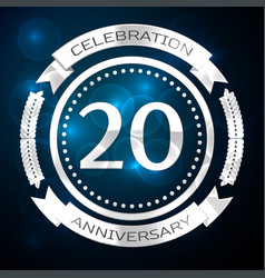 twenty years anniversary celebration with silver vector image
