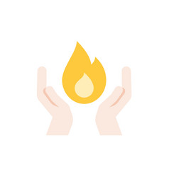 two hands and fire vector image