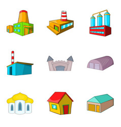urban factory icons set cartoon style vector image