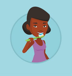 Woman brushing her teeth vector