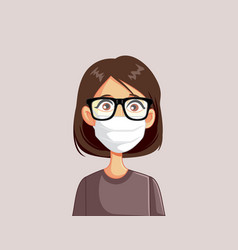 Woman wearing glasses and medical face mask vector