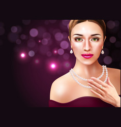 Woman wearing pearls vector