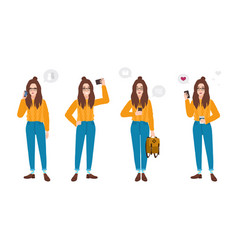young woman dressed in trendy clothes with vector image