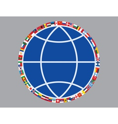 globe sign with flags vector image vector image