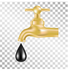 gold tap with oil drop on transparent background vector image vector image