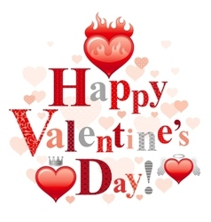 Happy Valentines day romance love text lettering vector image
