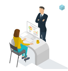 isometric people working in office vector image vector image