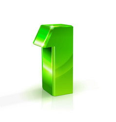 glossy green one 1 number 3d on vector image vector image