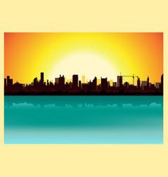 sunset city landscape vector image