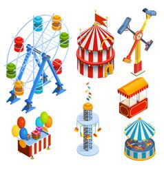 Amusement Park Isometric Decorative Icons vector image vector image