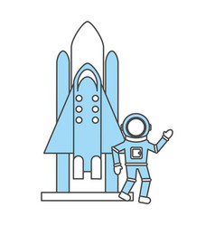Astronaut with rocket comic character icon vector