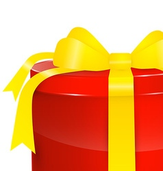 Gift Box - Red Present Box with Gold - Yellow vector image