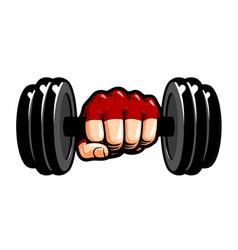 heavy dumbbell in hand cartoon gym bodybuilding vector image vector image