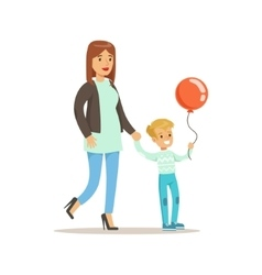 Mom And Son Walking Outdoors Loving Mother vector image vector image