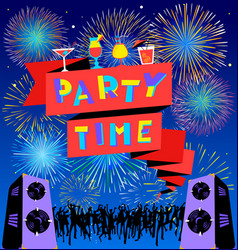 party time lettering on banner disco clud poster vector image