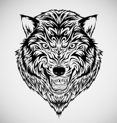 Tribal Wolf Head Tattoo vector image vector image