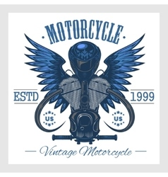 Vintage motorcycle print Monochrome on white vector image vector image