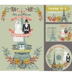 Wedding invitationautumn leavesdresseseiffel vector