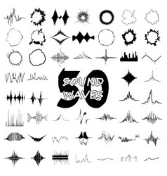 50 sound wave audio icons set simple style vector image
