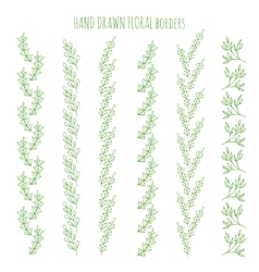 Floral hand drawn borders vector image vector image