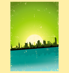 grunge city landscape vector image