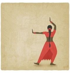 Indian dancer old background dance club symbol vector image