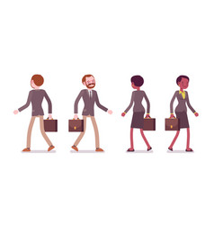 set of male and female teacher walking rear vector image vector image