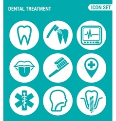 set of round icons white Dental treatment tooth vector image