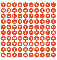 100 leaf icons hexagon orange vector image