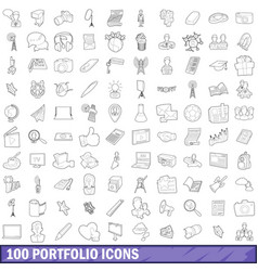 100 portfolio icons set outline style vector