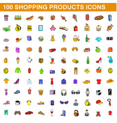 100 shopping products icons set cartoon style vector