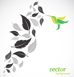 Abstract leaves and hummingbirds vector