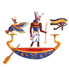 ancient egypt sun god ra or horus in boat vector image
