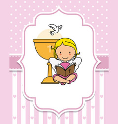 Angel reading the bible next to a chalice vector