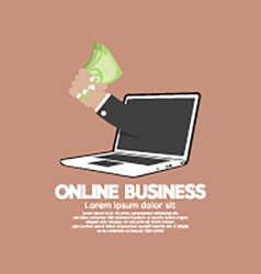 Banknotes In Hand Online Business Concept vector image