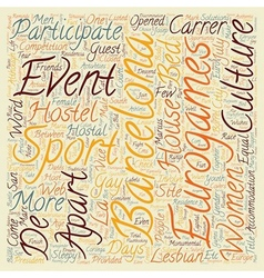 Barcelona euro games text background wordcloud vector image