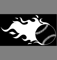 baseball with flames silhouette in black vector image