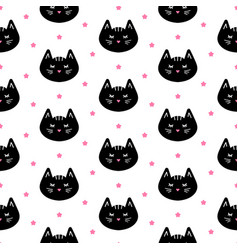 black cats and stars seamless pattern vector image