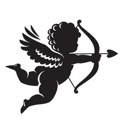 Black silhouette cupid aiming a bow and arrow vector