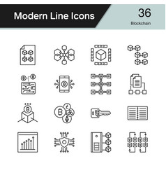 blockchain icons modern line design set 36 for vector image