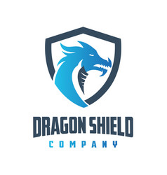 blue dragon shield logo design vector image